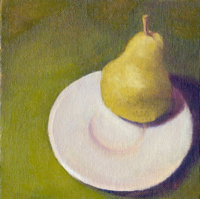 G Sivitz, oil painting, pear,