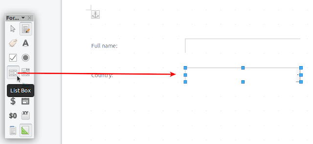 Libreoffice insert list box drop-down