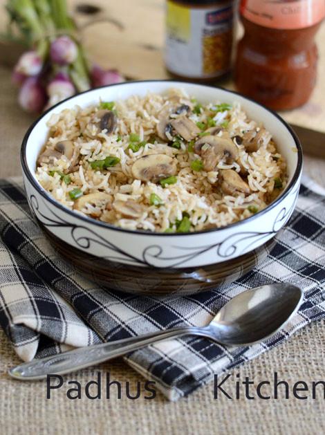 Mushroom fried rice recipe indo chinese recipe padhuskitchen how to make mushroom fried rice indian style forumfinder Gallery