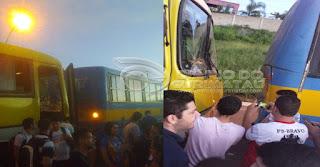Acidente com ônibus universitário de Picuí nesta sexta (18) em Campina Grande; veja