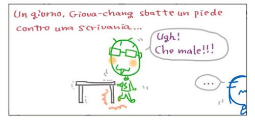 Un giorno, Giova-chang sbatte un piede contro una scrivania… Ugh! Che male!!!