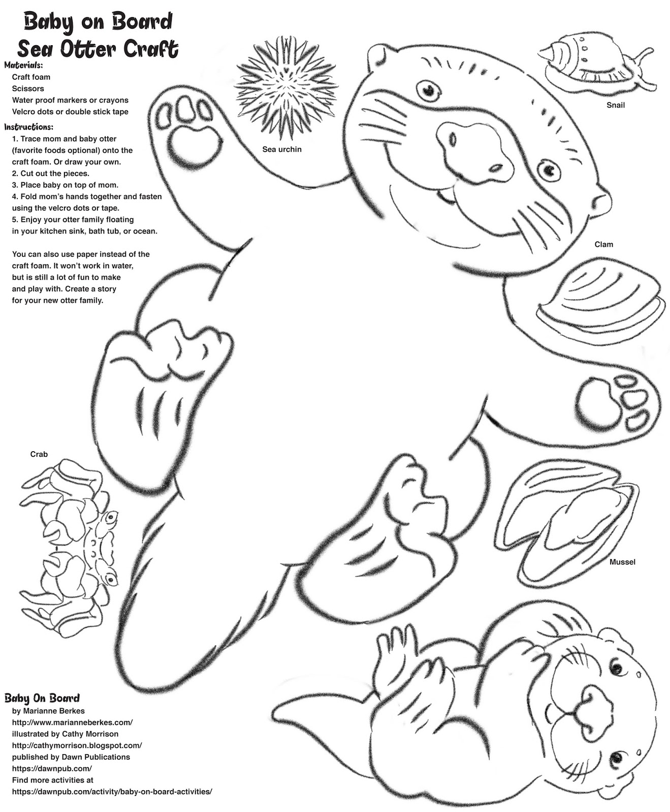 Coloring pages baby otters - Baby On Board Floaty Sea Otter Craft