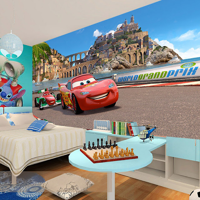 Disney Cars Wall Mural 3D Wallpaper Sticker Cars Brick Wall breaking through wall children room kids bedroom Racing