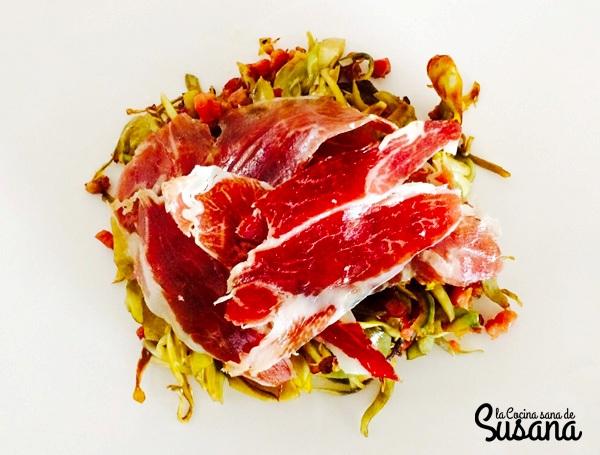 alcachofas con jamón receta sana
