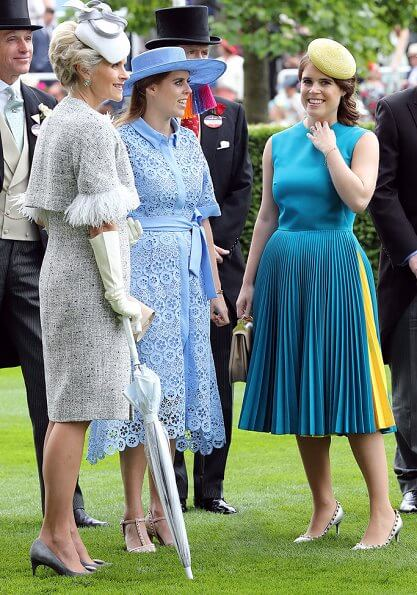 Duchess of Cambridge is wearing a custom Elie Saab dress. Queen Maxima is wearing Natan dress. Princess Eugenie and Zara Tindall