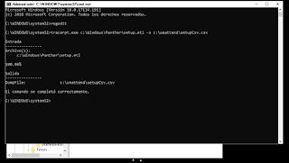 tracerpt c:\Windows\Panther\setup.etl -o c:\carpetaAux\setupLogfile.csv