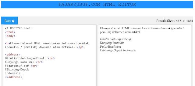 HTML <address> untuk Informasi Kontak
