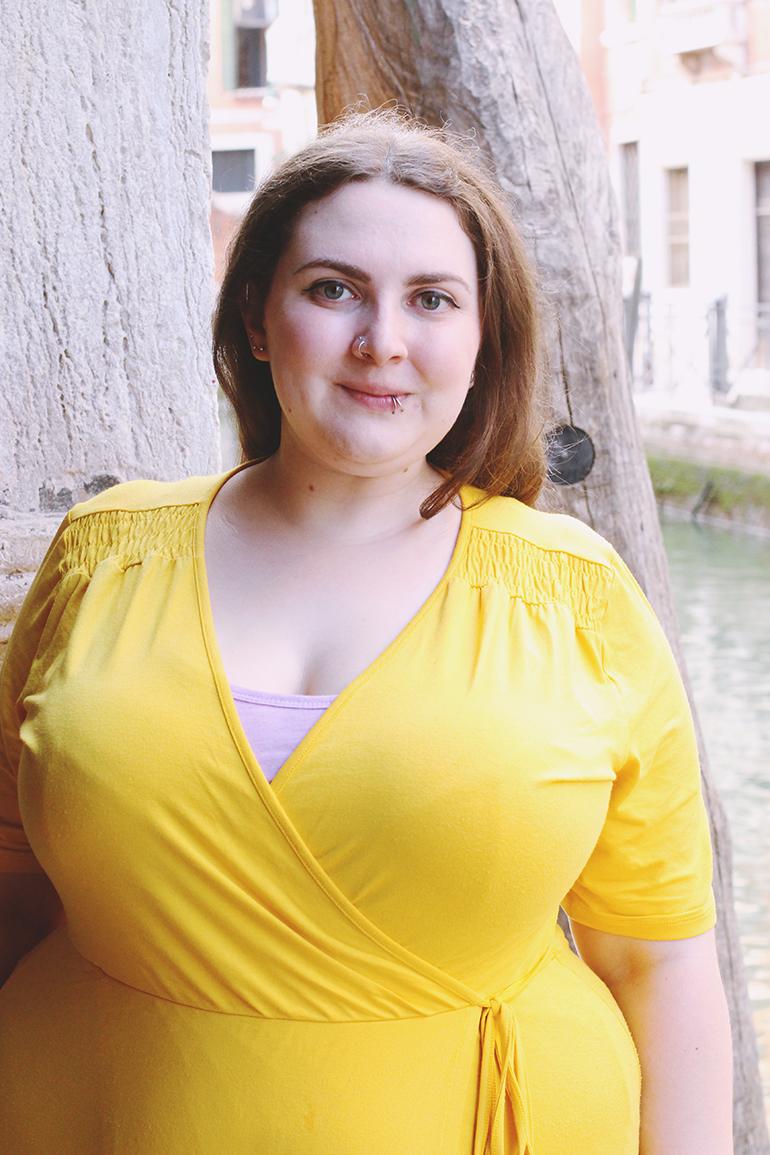 plus size yellow wrap jersey dress