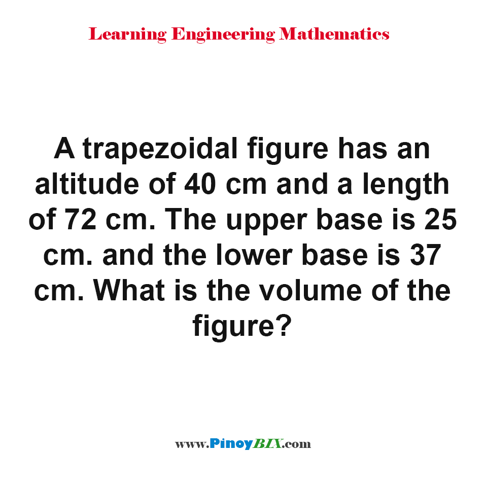 What is the volume of the trapezoidal figure?