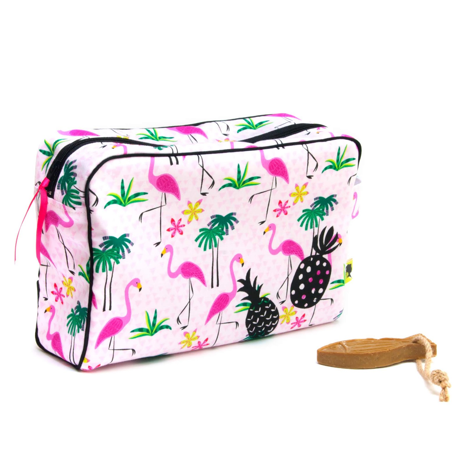 Trousse de toilette bébé, enfant, fait main, cadeau de naissance, grande fermeture zippée, tissu flamants roses, motif ananas, 24x8x16 cm