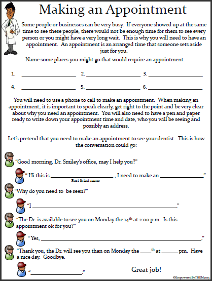 Empowered By THEM: Life Skills Worksheets