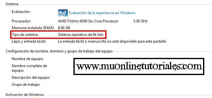 Propiedades de sistema en Windows 7