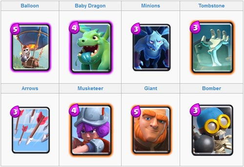 Strategi serangan deck udara balloon dan baby dragon clash royale arena 3