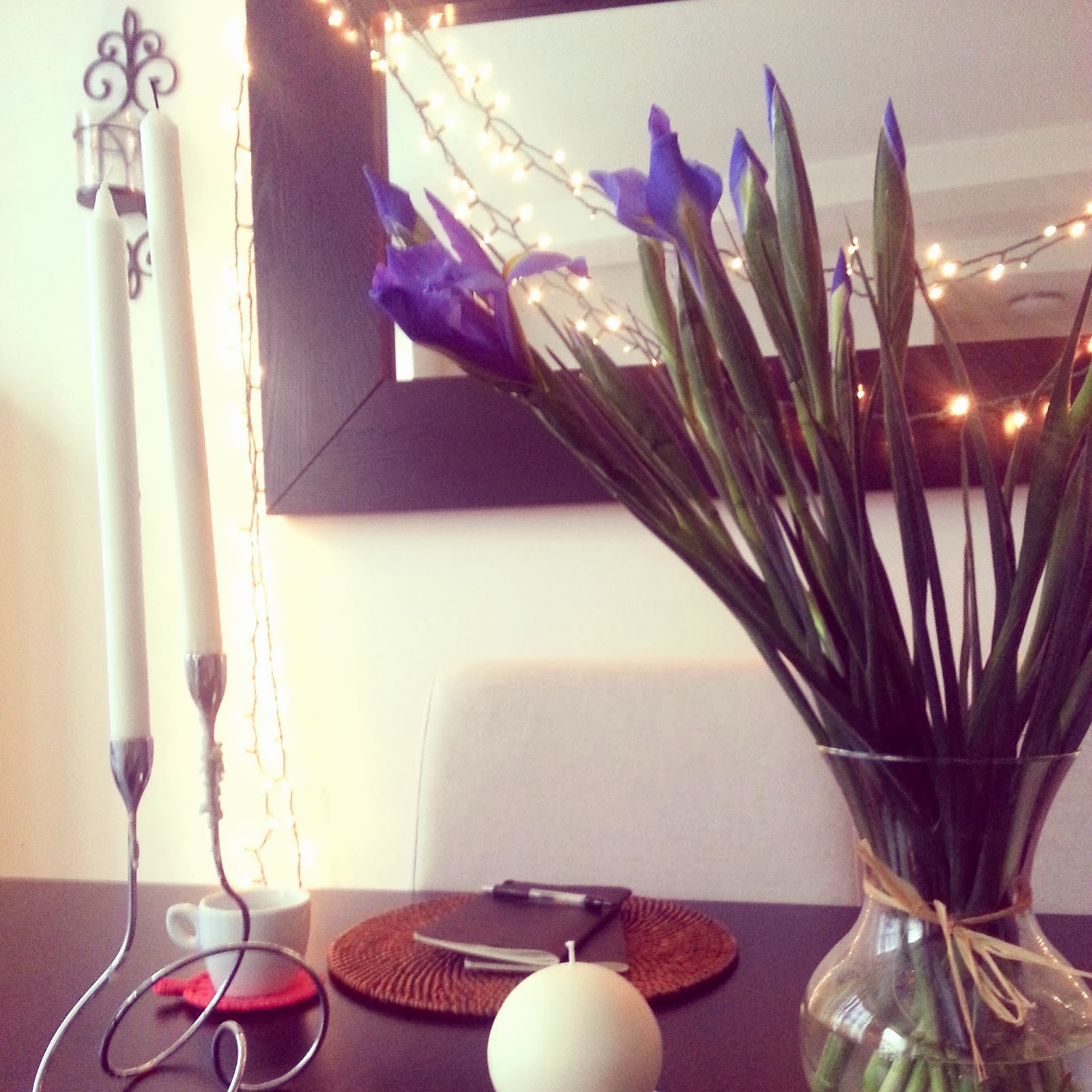 Morning meditations with notebook, irises, and teacup  |  The waiting game...and spilt milk on afeathery*nest  |  http://afeatherynest.blogspot.com