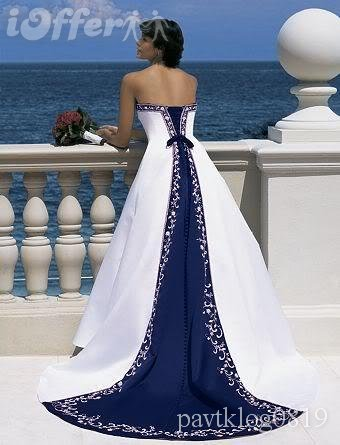 White Wedding Dresses With Navy Blue Accents