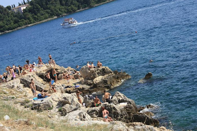 Rocky beach in Rovinj