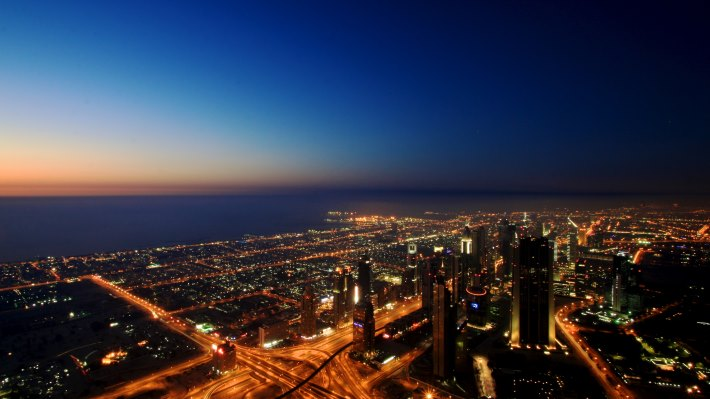 Wallpaper: Dubai by night from the Burj Khalifa