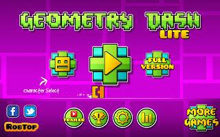 Captura de pantalla de Geometry Dash con el menú de inicio