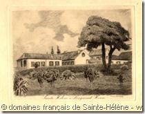 Gravure sur cuivre « Longwood House, île de Sainte-Hélène » de Raoul Serres – Collection des domaines français de Sainte-Hélène