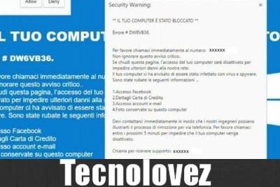 Security warning Errore #DW6VB36  - Nuova truffa del computer bloccato , ecco come difendersi