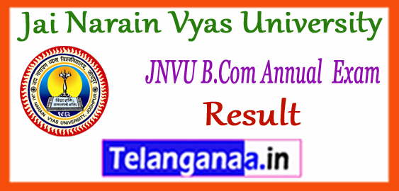 JNVU Jai Narain Vyas University B.Com Ist IInd IIIrd Year Result 2018