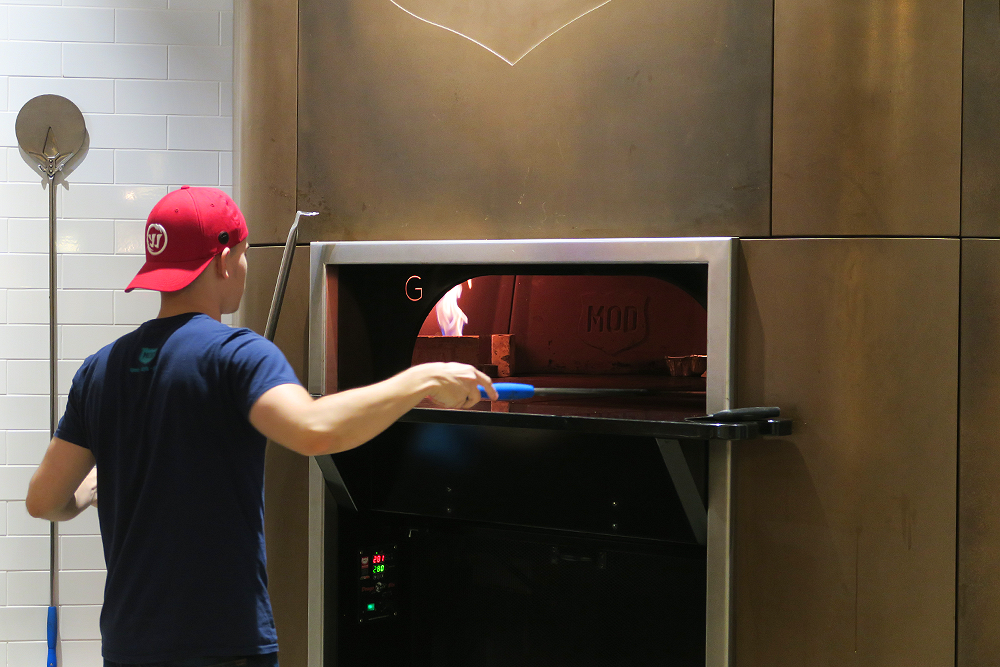 Pizza being cooked at MOD Pizza Leeds