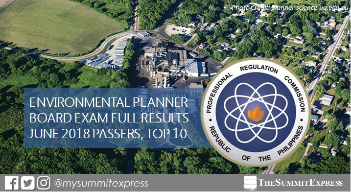 FULL RESULTS: June 2018 Environmental Planner board exam list of passers, top 10