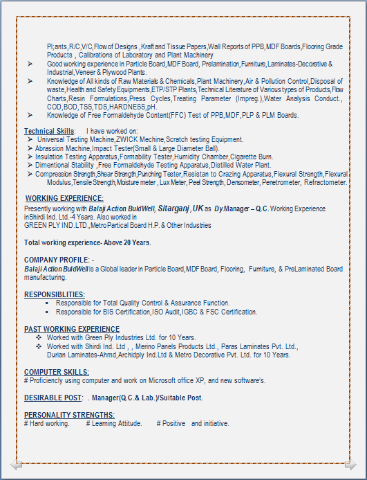 Resume Blog Co Resume Sample For Manager Q C Lab Having 21 Years Experiance