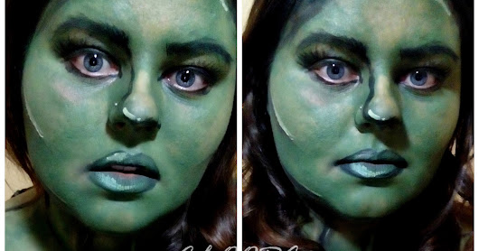 Facepainting Green comics girl