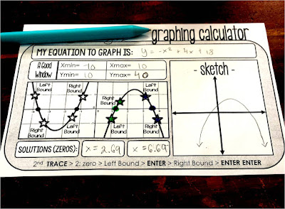 Do your Algebra students struggle to graph quadratics on their graphing calculators? Do they have a hard time finding an appropriate graphing calculator window? I've found that this free template works really well to help students find quadratic solutions, a good x-min, y-min, x-max and y-max that makes sense for their function and gives great practice for solving quadratics. You can download it for free from the Scaffolded Math and Science Teachers pay Teachers store.