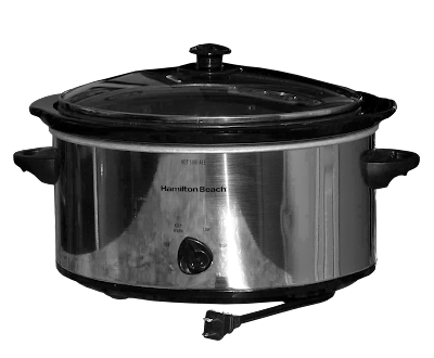 A brushed stainless steel and black oval crock pot.