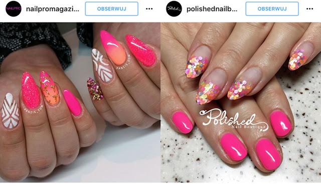 różowe paznokcie z efektem syrenki