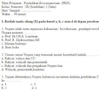 Soal-Ulangan-Ujian-Pendidikan-Kewarganeraan-kelas-9-Semester-1-UAS-PKN-kelas-9-SMP