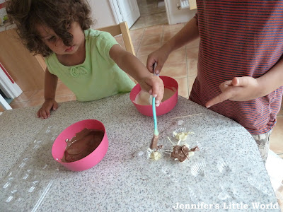 Making chocolates with small children