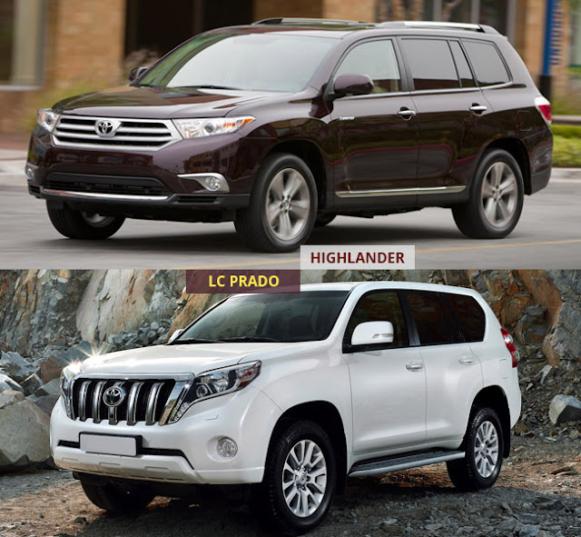 toyota highlander prado vs 1 -  - Mua xe nhập khẩu 7 chỗ Toyota Land Cruiser Prado hay Highlander 2016 tại Việt Nam ?
