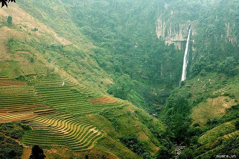 thác nước chảy từ trên núi cao, ruộng bậc thang trên núi