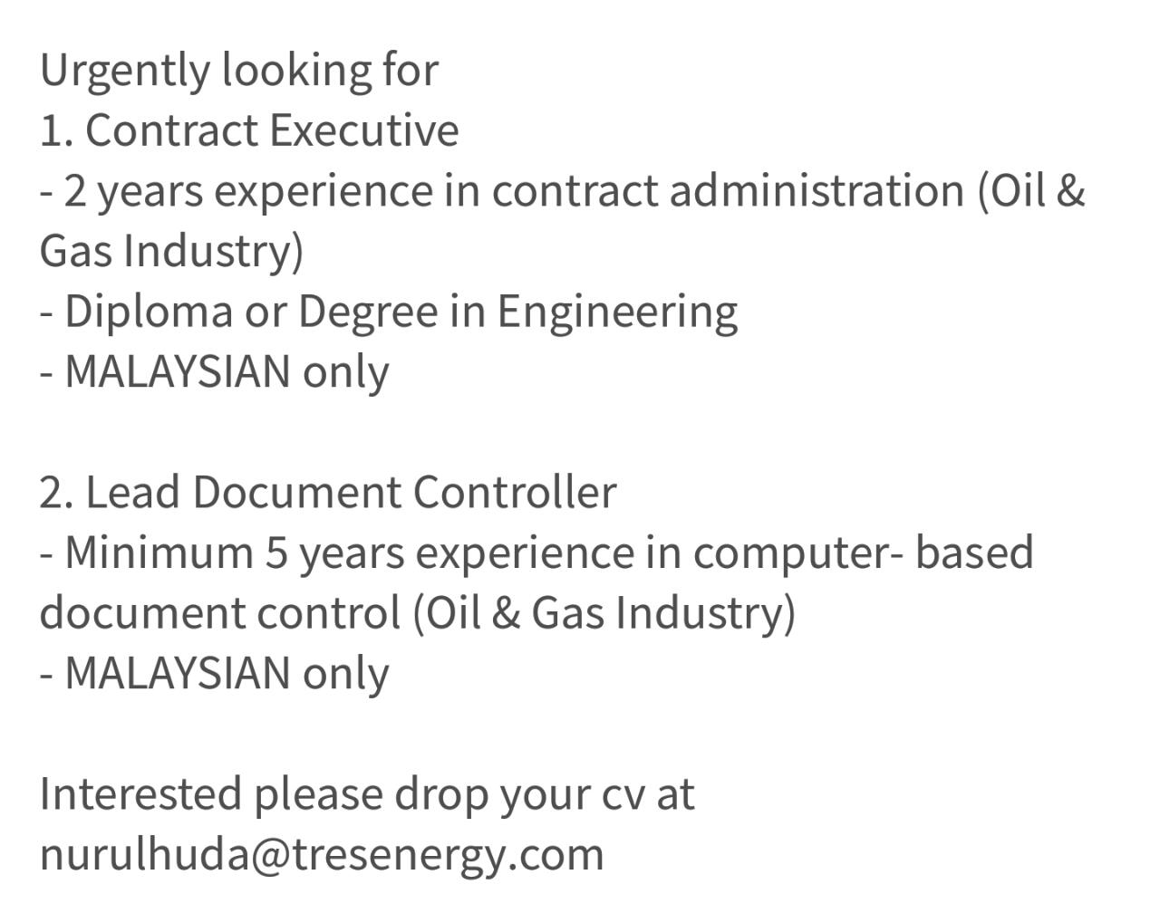 contract executive lead document controller malaysia - Halliburton Field Engineer Sample Resume