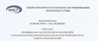 Penerimaan CPNS Terbaru Badan Pengawasan Keuangan dan Pembangunan