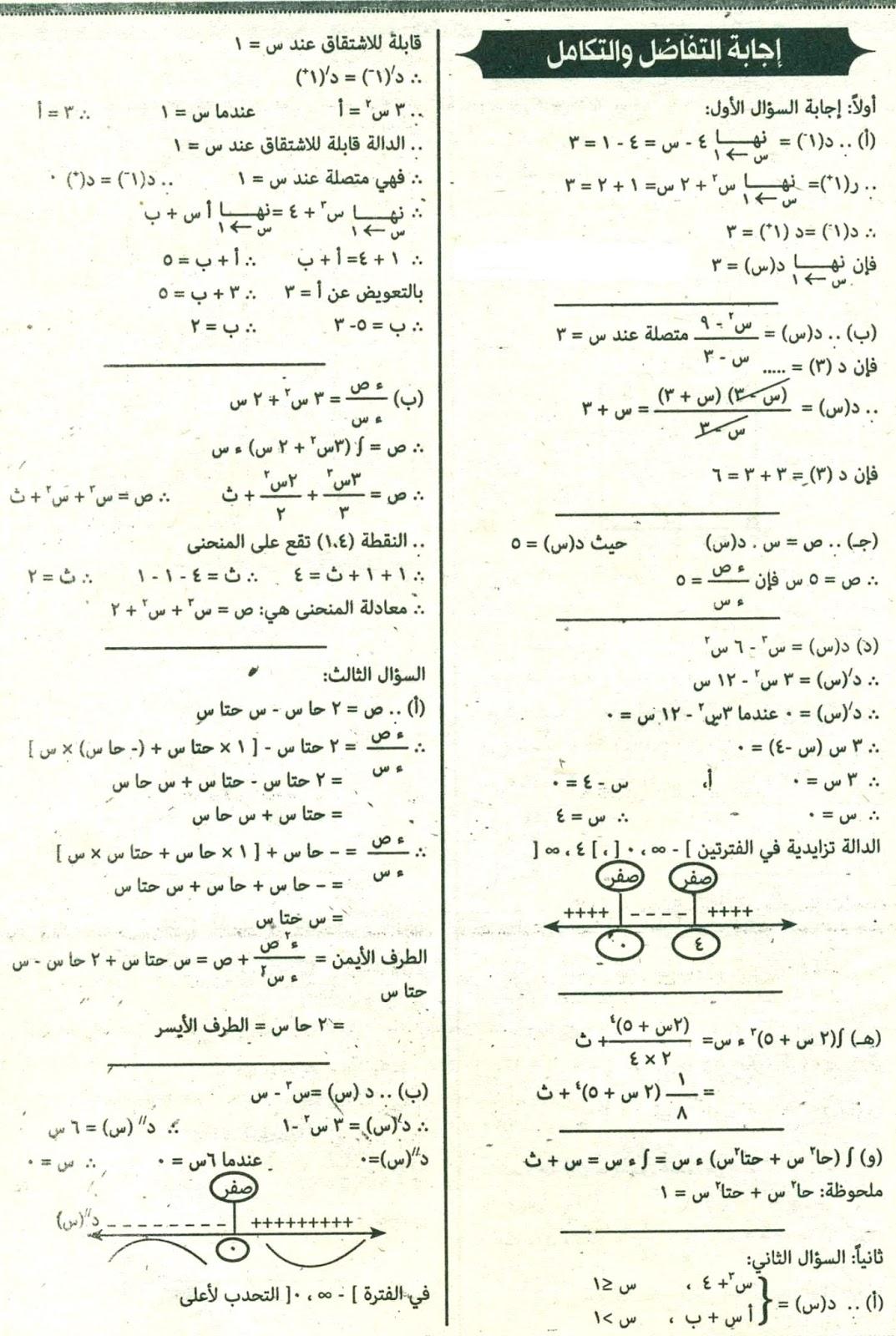 امتحان التفاضل والتكامل 2016 للثانوية العامة المصرية بالسودان 7
