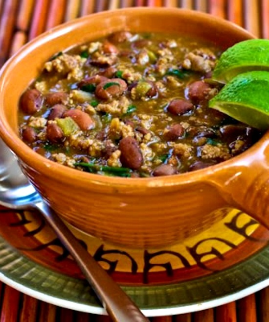 Ground Turkey and Bean Stew with Cumin, Green Chiles, and Cilantro found on KalynsKitchen.com