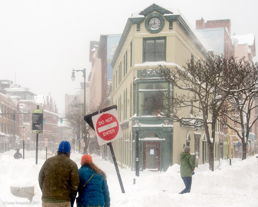 Portland, Maine USA February 2017 snow day winter in Congress Square at free street and hay building photo by Corey Templeton.