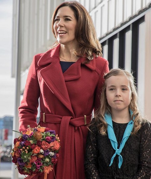 Crown Princess Mary of Denmark wore Prada dress and wore Diane von Furstenberg Mikhaila Long Coat