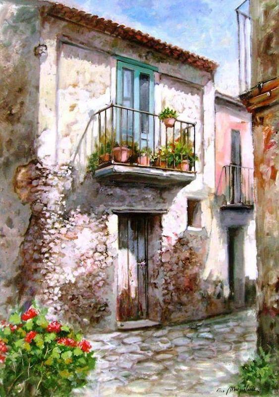 Cuadros modernos pinturas y dibujos escaleras entradas - Balcones rusticos ...