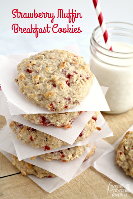 You only need 4 simple ingredients & just 25 minutes to whip up these filling & budget friendly Strawberry Muffin Breakfast Cookies.