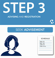 poster art: Text: Step #: Advising and Registration.  Illustrated image of an advisor on headset and shot of a class schedule.