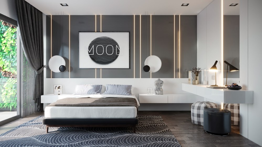 moon-abstract-striped-bedroom-feature-wall