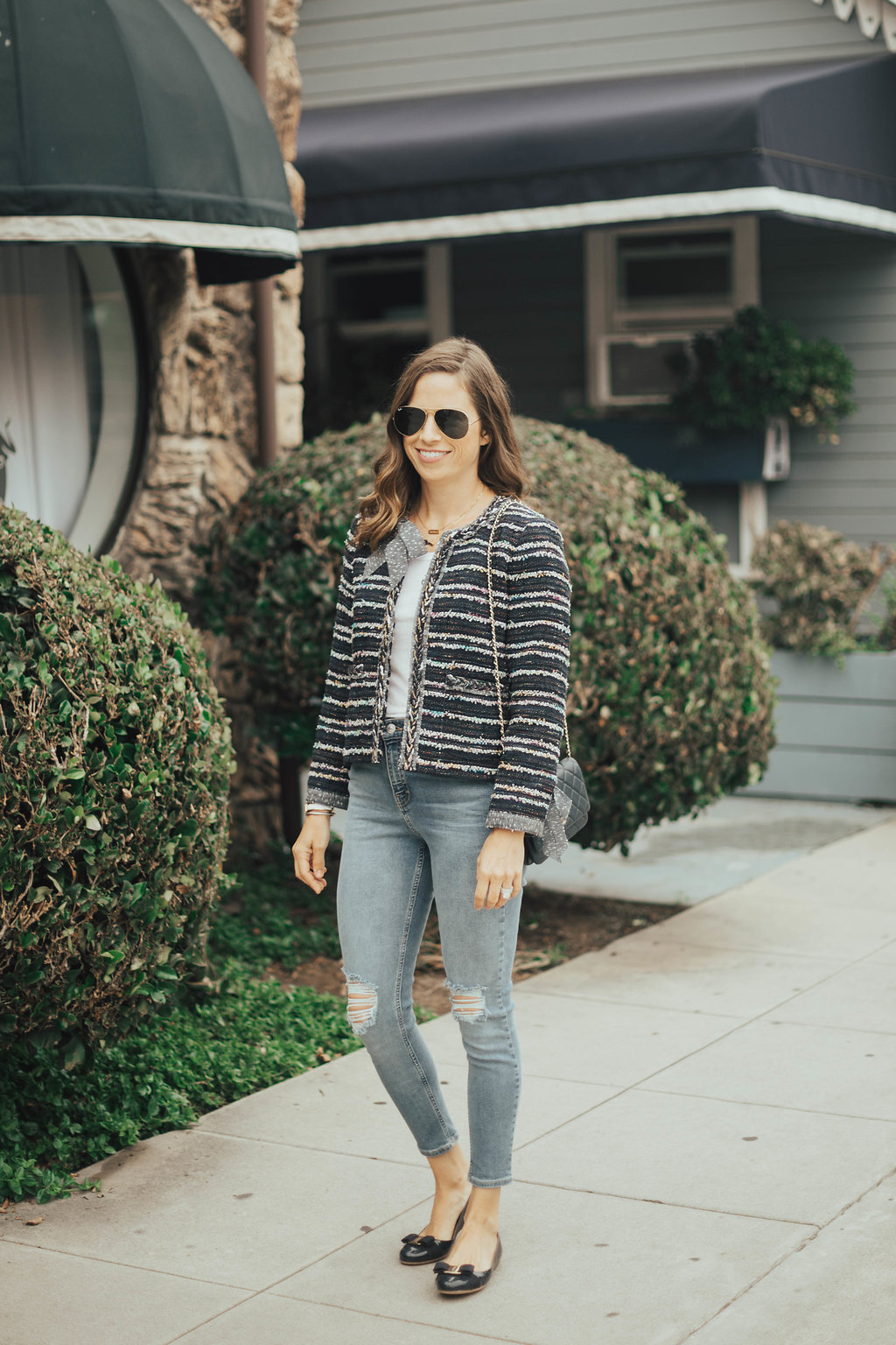 navy tweed jacket outfit