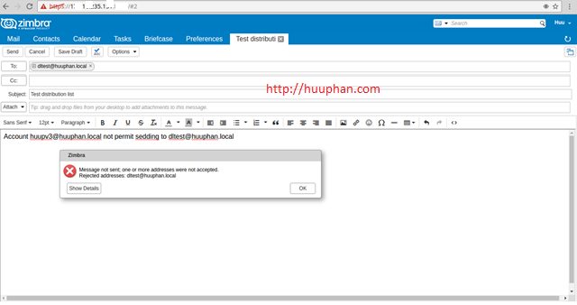 How to Restrict Sending to Distribution list in zimbra mail