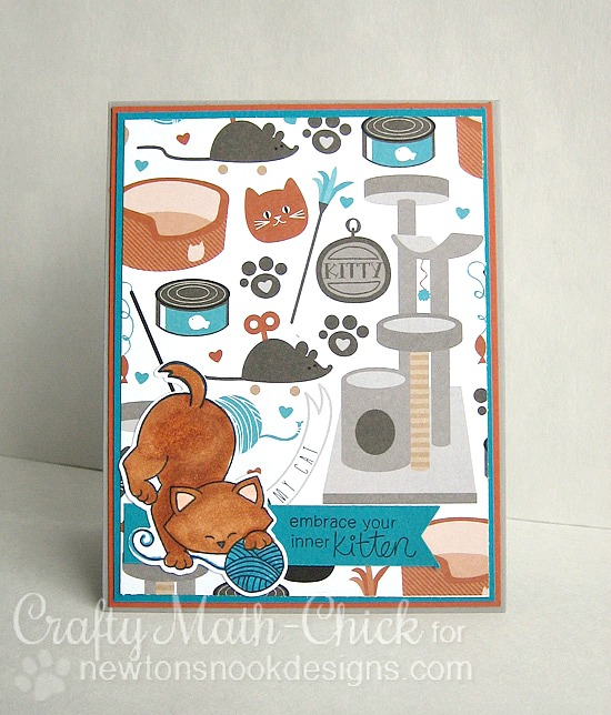 Cat and Yarn Card by Crafty Math-Chick | Newton Unwinds Stamp Set & Die Set by Newton's Nook Designs #newtonsnook