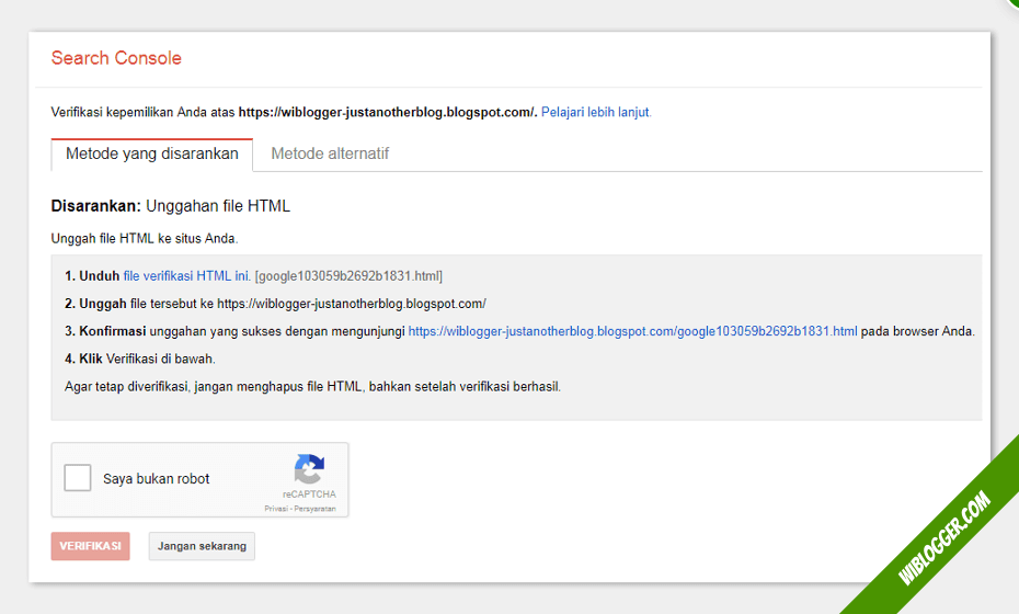Metode verifikasi google search console